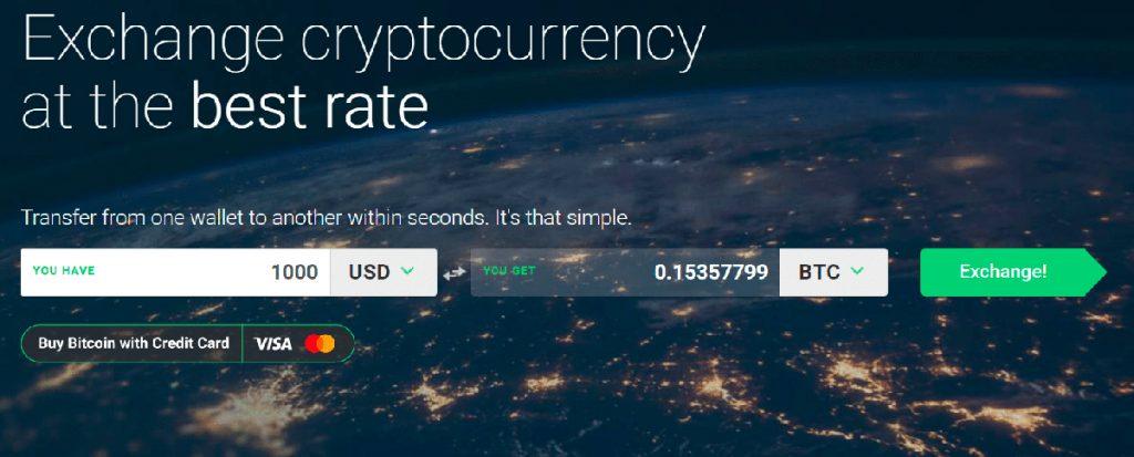 Главная страница обменника Changelly