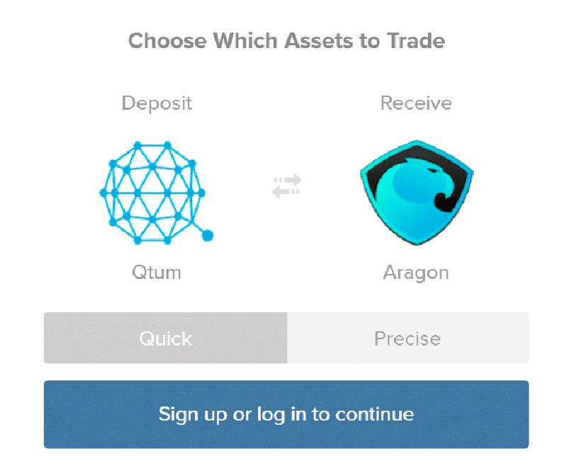 Выбор варианта обмена в ShapeShift