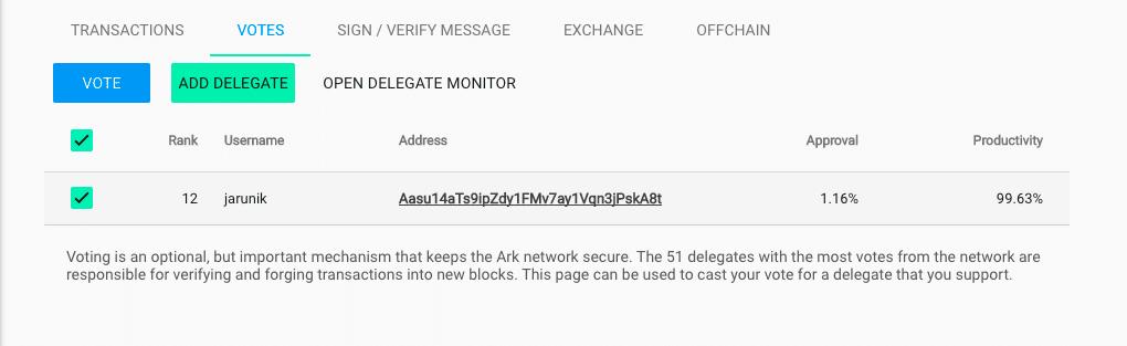 Подтверждение голоса за делегата в ARK