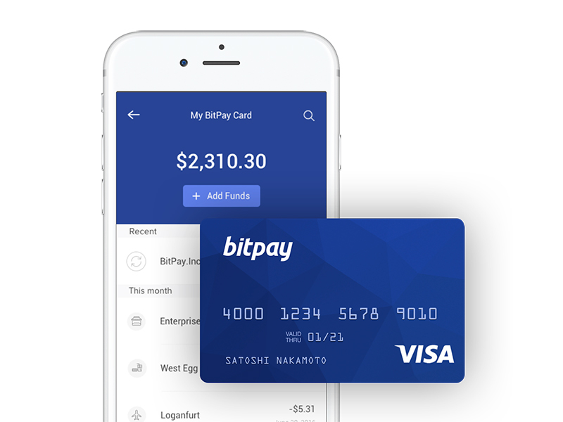 Дебетовая криптокарта и приложение BitPay